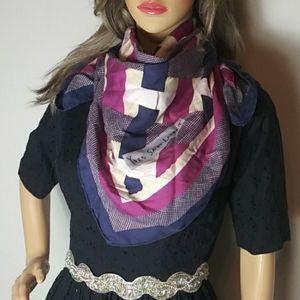 Yves Saint Laurent scarf purple/navy/cream